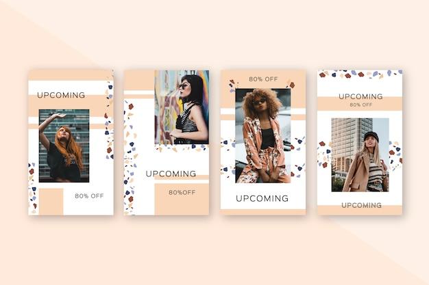Женщины позируют для специальных предложений продажи на instagram Бесплатные векторы