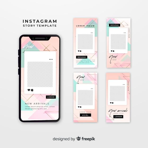 Шаблоны рассказов instagram с пустой рамкой Бесплатные векторы