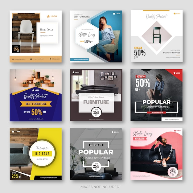 Instagramのためのモダン家具ソーシャルメディア投稿コレクション Premiumベクター