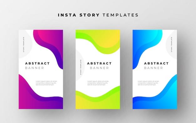 Абстрактные шаблоны истории instagram с жидкими формами Бесплатные векторы