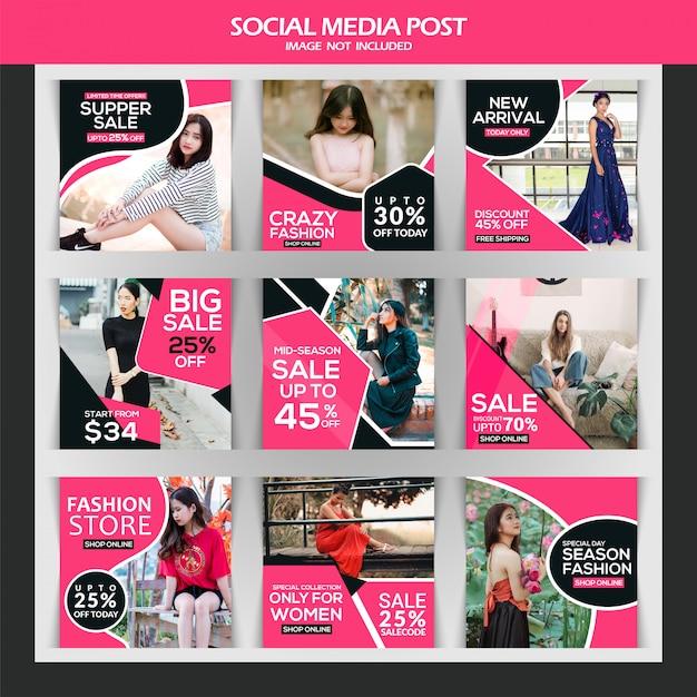 ファッション販売instagramの投稿または正方形のバナーのテンプレート Premiumベクター