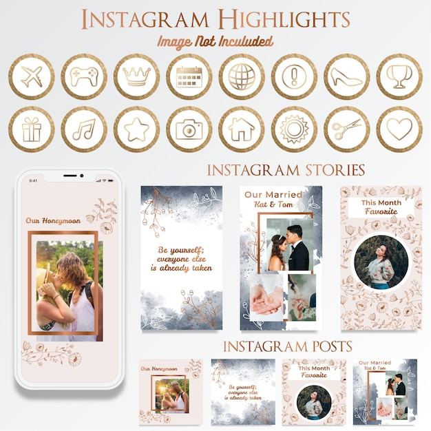 ロゴデザインのフェミニンinstagramソーシャルメディア投稿 Premiumベクター