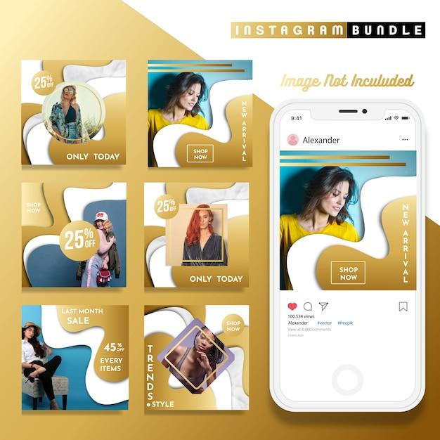 Золотой instagram шаблон почты моды Premium векторы
