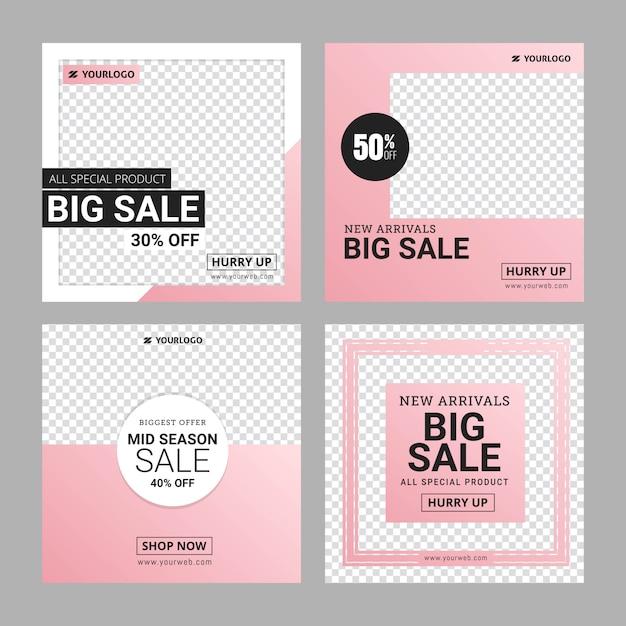 Instagramファッションバナーの広告テンプレートを編集可能 Premiumベクター