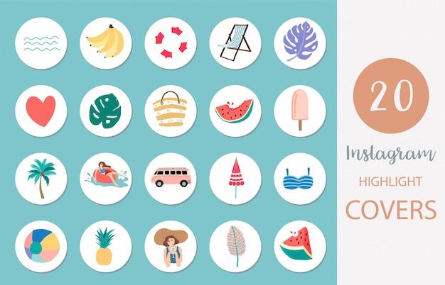 Instagramのアイコンは、ソーシャルメディアの夏のスタイルでビーチ、スイカ、フルーツのカバーを強調表示します Premiumベクター