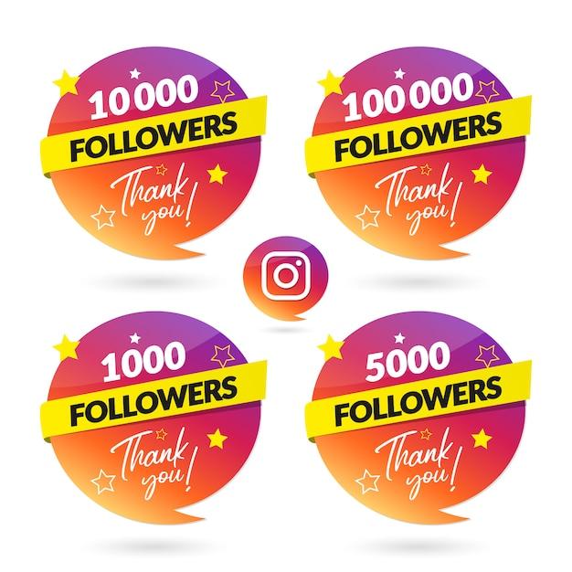 Instagramのフォロワーのお祝いバナーとロゴ Premiumベクター