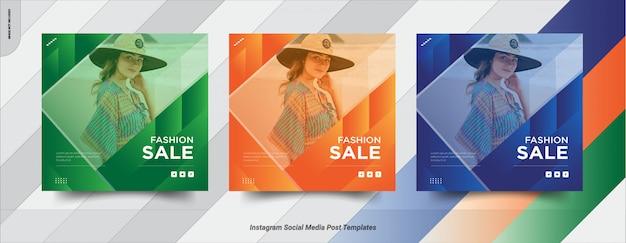 Набор продажи instagram пост в социальных сетях пост шаблона дизайна Premium векторы