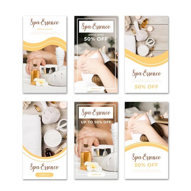 Продажа спа баннеров instagram набор историй Бесплатные векторы