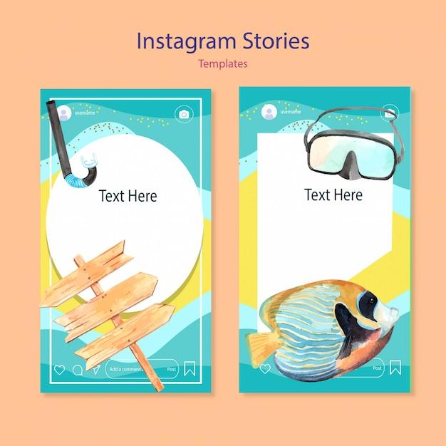 Набор акварельных шаблонов instagram Бесплатные векторы