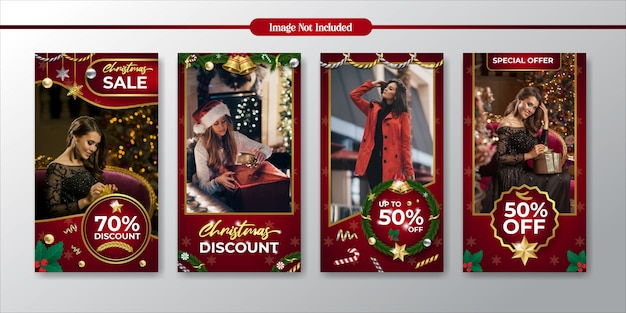 Instagramストーリークリスマスプロモーションと割引販売テンプレート Premiumベクター