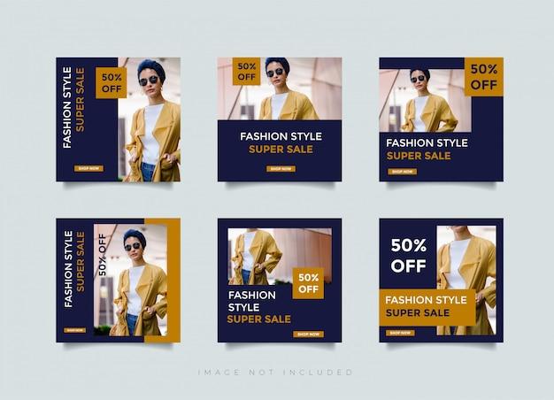 Instagramのポストデザインまたはファッションストアショップの正方形バナーテンプレート Premiumベクター