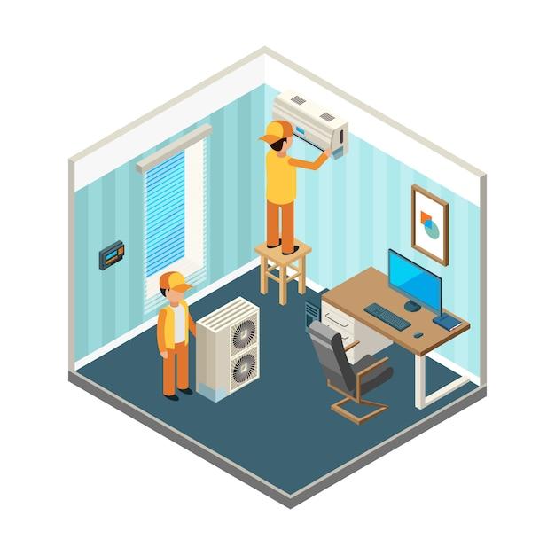 Установить кондиционер. техники закрепили электрические и охлаждающие системы отопления на офисных помещениях изометрических картин Premium векторы