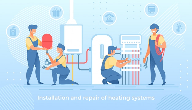 Installation and repair of electric heating system Premium Vector