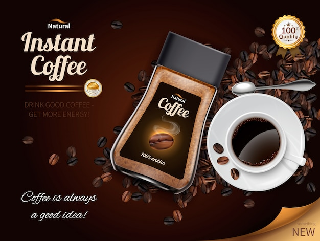 Instant coffee realistic poster Free Vector