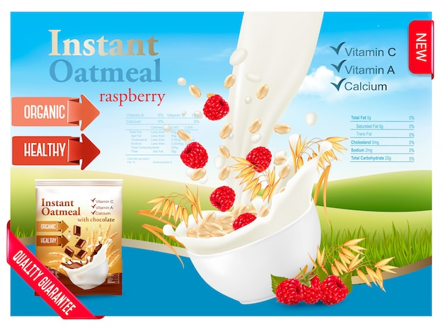 Instant oatmeal with strawberry advert concept. milk flowing into a bowl with grain and berries. . Premium Vector