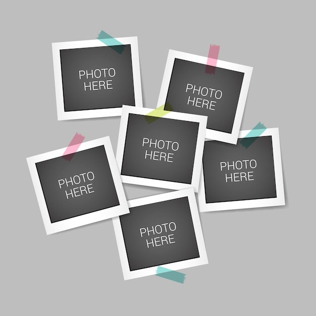 Instant photo frame collage with realistic design Free Vector