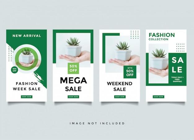 ファッションinstragramストーリーメディアポストデザインテンプレート Premiumベクター