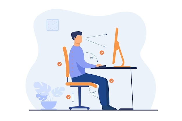 Instruction for correct pose during office work flat illustration. cartoon worker sitting at desk with right posture for healthy back and looking at computer Free Vector