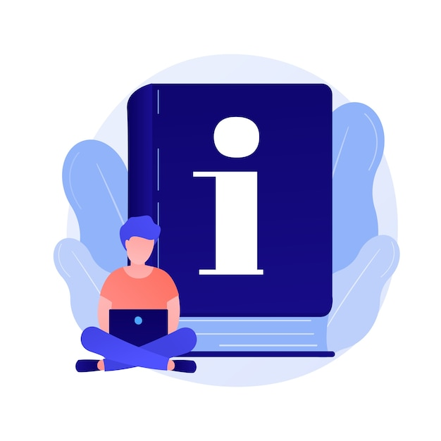 Instruction manual. smart man with laptop studying handbook, reading guidebook cartoon character. use terms, tutorial guide, digital documentation. Free Vector