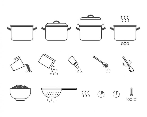 Instructions for the preparation of food. steps how to cook porridge. Premium Vector