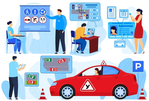 Instructor exam for car driver, people learners rules vector illustration set. woman man student cha