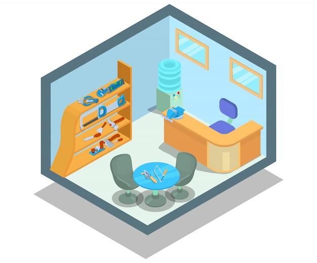 Instrumental office concept scene Premium Vector
