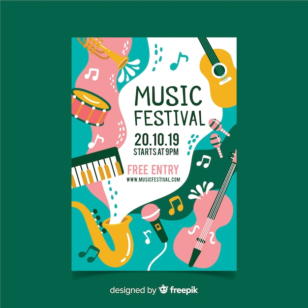 Instruments and waves music festival poster Free Vector