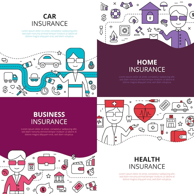 Insurance 4 linear icons square Free Vector