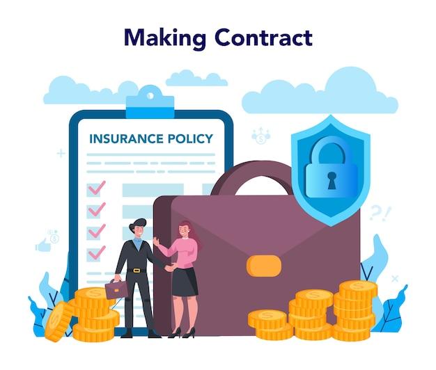 保険代理店のコンセプト。セキュリティと財産の保護のアイデア Premiumベクター