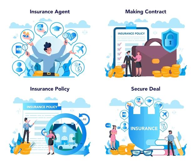 Набор концепций страхового агента Premium векторы
