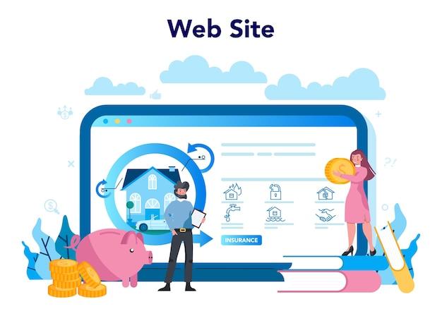 保険代理店のオンラインサービスまたはプラットフォーム Premiumベクター