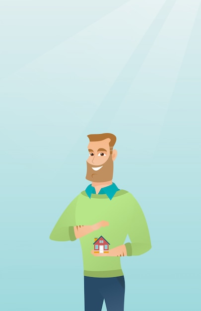 Insurance agent protecting model of house. Premium Vector