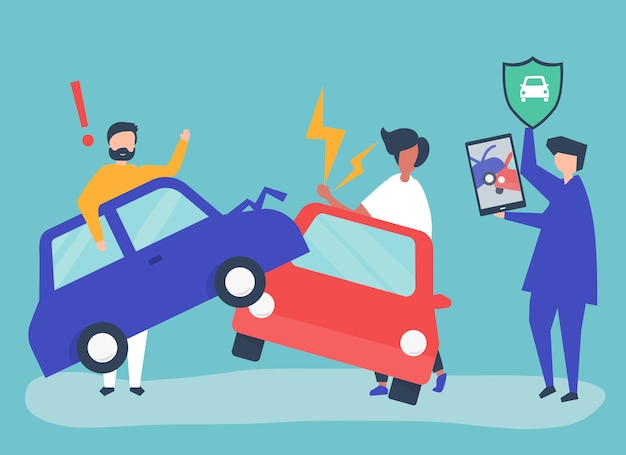 An insurance agent resolving a car accident Free Vector