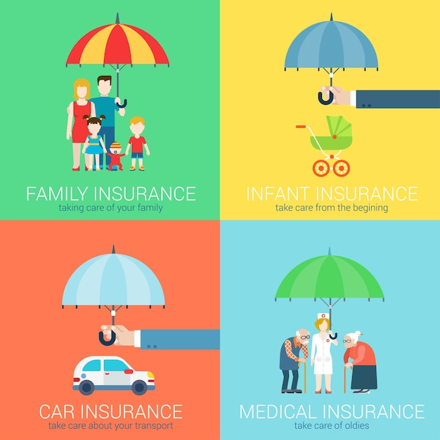 In insurance business modern flat set of concept illustration icons Free Vector