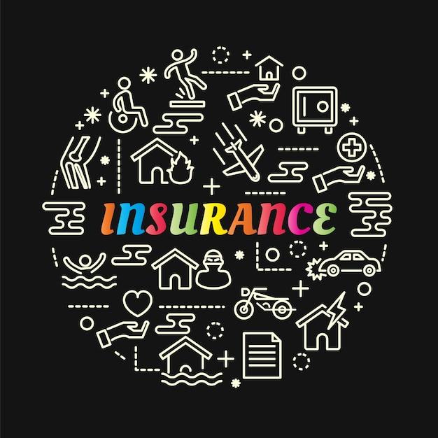 ラインアイコンが付いた保険カラフルなグラデーション Premiumベクター
