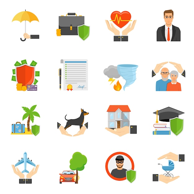Insurance companies symbols flat icons set Free Vector