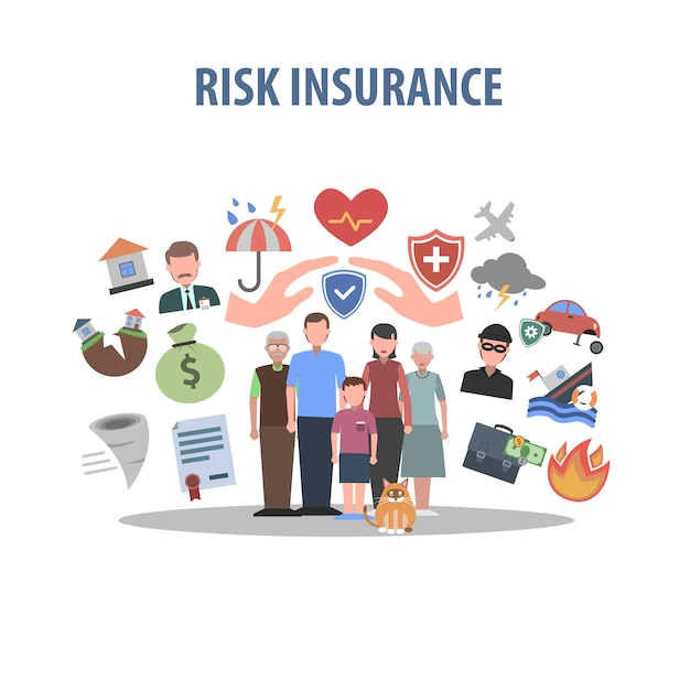 Insurance concept flat Free Vector