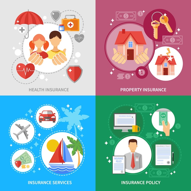 Insurance concept icons set Premium Vector