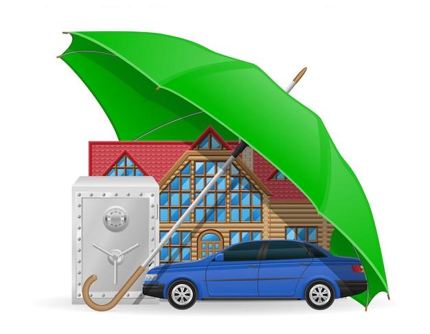 Insurance concept protected umbrella. Premium Vector