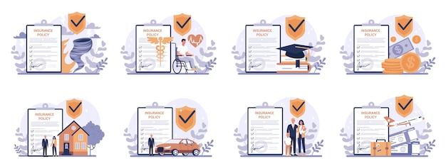 Insurance concept set. idea of security and protection of property and life from damage. travel and business safety. Premium Vector