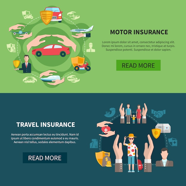 Insurance horizontal banners Free Vector