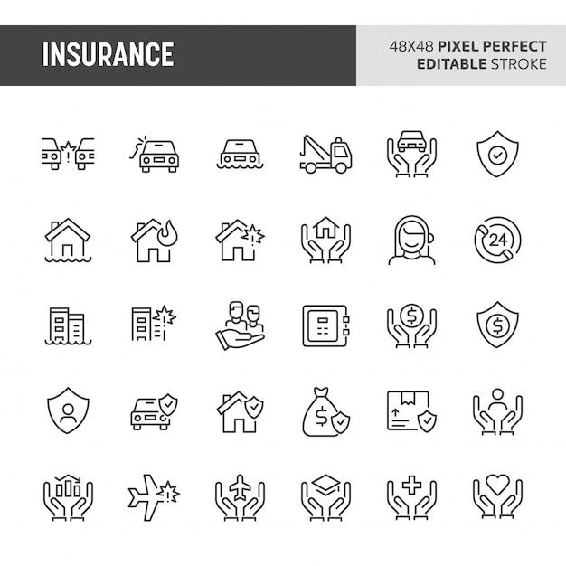 Insurance icon set Premium Vector