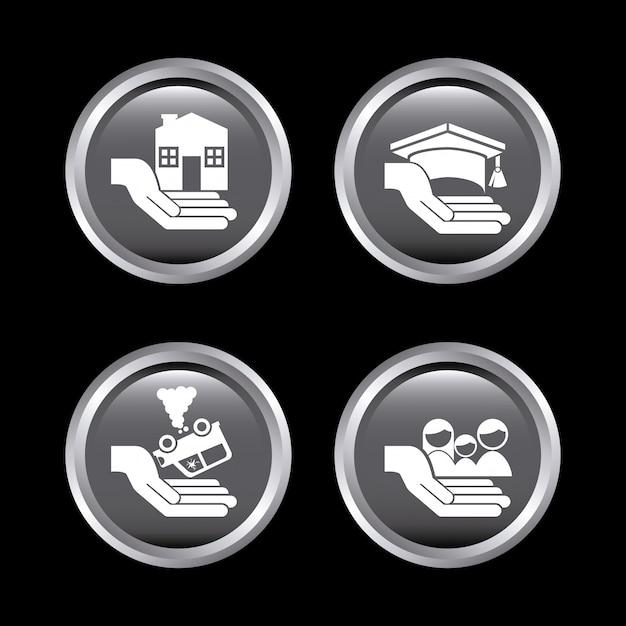 Страховые иконки на черном Бесплатные векторы