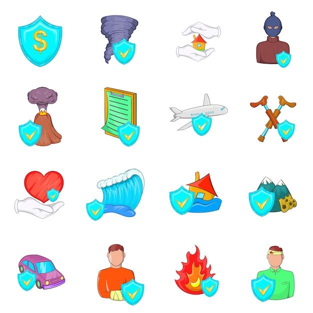 Insurance icons set Premium Vector