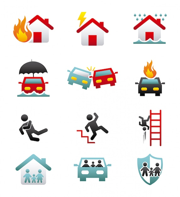 Insurance icons over white background vector illustration Premium Vector