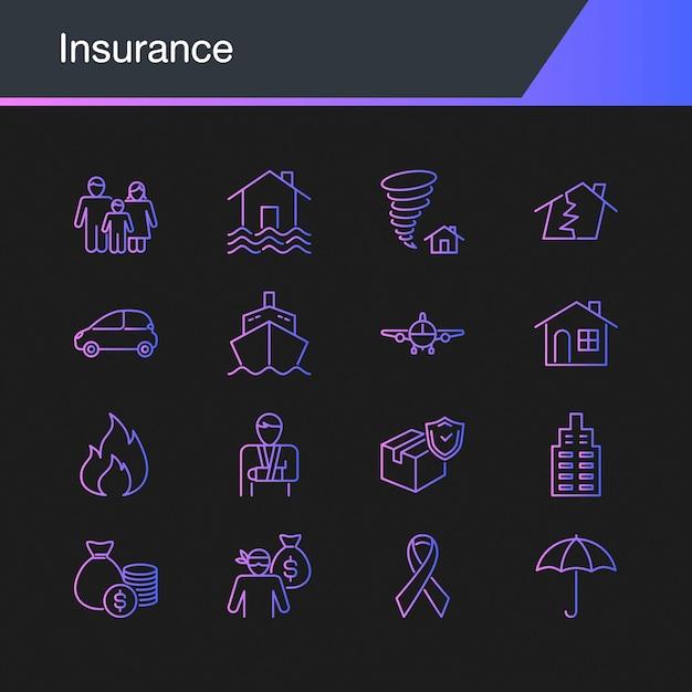 Insurance icons Premium Vector