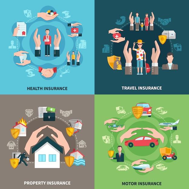 Insurance illustration set Free Vector