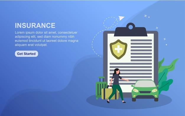保険のランディングページテンプレート Premiumベクター