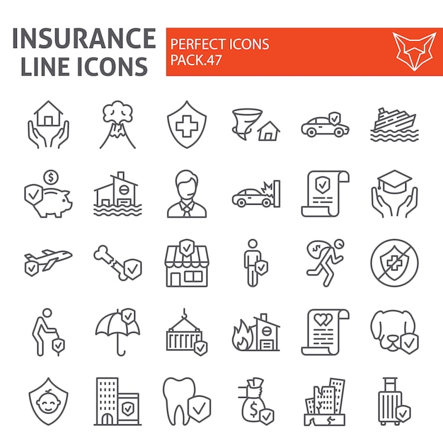 Insurance line icon set Premium Vector