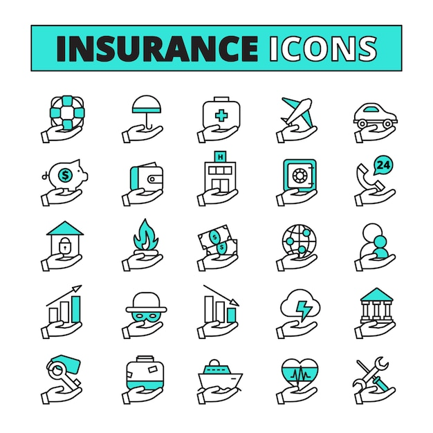 Insurance line icons set with property transport and life safety symbols flat isolated vector illustration Premium Vector